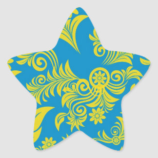 Retro cool floral pattern! star sticker