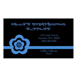 Retro Cool Flower Business Card, Light Blue