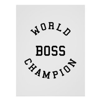Retro Cool Gifts for Bosses : World Champion Boss Print