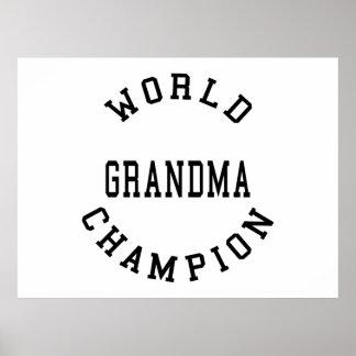 Retro Cool Grandmas Gifts World Champion Grandma Posters