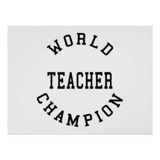 Retro Cool Teachers Gifts : World Champion Teacher Posters