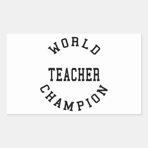 Retro Cool Teachers Gifts : World Champion Teacher Rectangular Stickers