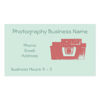 Retro Coral and Mint Vintage Camera Business Card