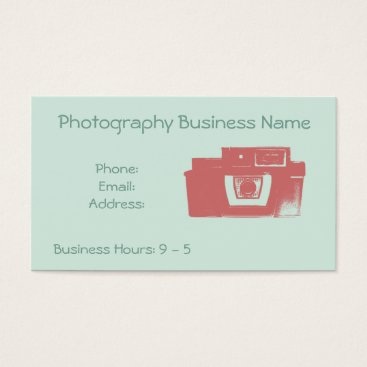 Professional Business Retro Coral and Mint Vintage Camera Business Card