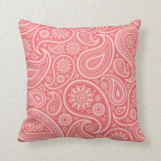 Retro Coral Paisley Pattern Pillows