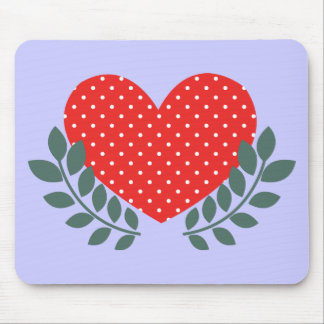 Retro cornflower blue white country heart pattern mouse pad