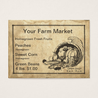 Retro Cornucopia Farm Fresh Fruit and Flea Market Business Card