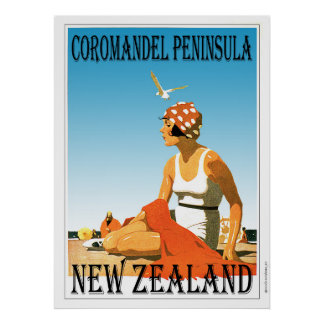Retro Coromandel Peninsula Beach Poster New Zealan