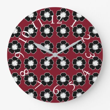 Professional Business Retro-Cottage-Flowers-Red-Black-Accent-Clocks Large Clock