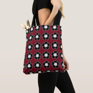 Retro-Cottage-Flowers-Red-Black-Shoulder-Bags-Tote Tote Bag