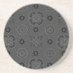 Retro Country Flowers Charcoal Black Coaster