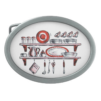 Retro Country Kitchen Shelf in Black White and Red Oval Belt Buckles