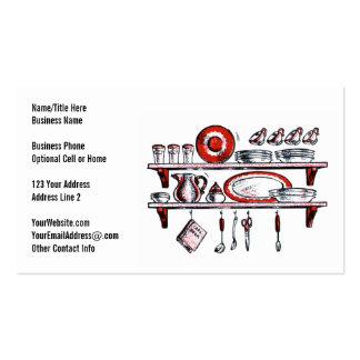 Retro Country Kitchen Shelf in Black White and Red Business Cards