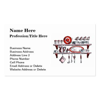 Retro Country Kitchen Shelf in Black White and Red Business Card Template