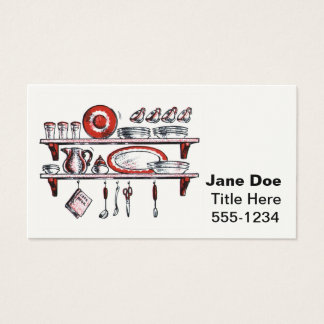 Retro Country Kitchen Shelf in Black White and Red Business Card