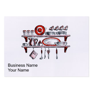 Retro Country Kitchen Shelf in Black White and Red Large Business Card