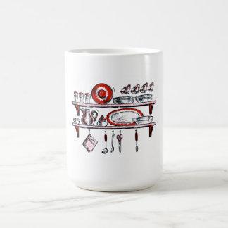 Retro Country Kitchen Shelf in Black White and Red Classic White Coffee Mug