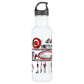Retro Country Kitchen Shelf in Black White and Red Stainless Steel Water Bottle