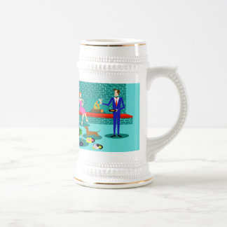 Retro Coupe with Dog Stein 18 Oz Beer Stein