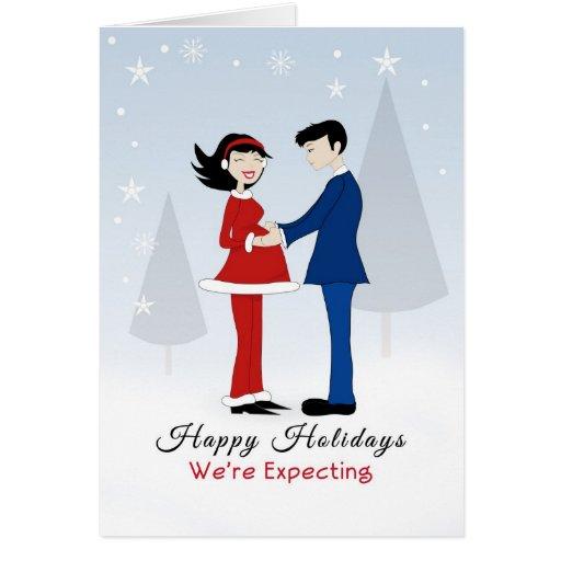 Retro Couple-Happy Holidays-We're Expecting Card