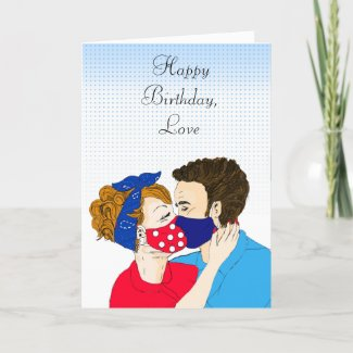 Retro Couple Kissing with Facemasks on Birthday Card