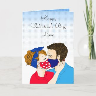 Retro Couple Kissing with Facemasks Valentines Day Card
