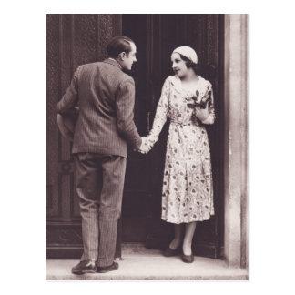 Retro Couple on Doorstep Postcard