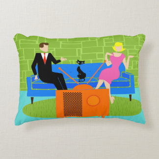 Retro Couple with Cat Accent Pillow