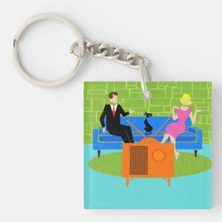 Retro Couple with Cat Acrylic Keychain