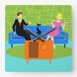 Retro Couple with Cat Acrylic Wall Clock