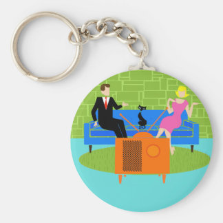 Retro Couple with Cat Button Keychain