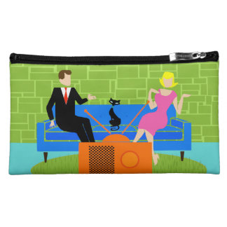 Retro Couple with Cat Cosmetic Bag