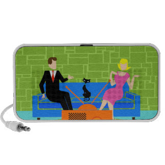 Retro Couple with Cat Doodle Portable Speaker