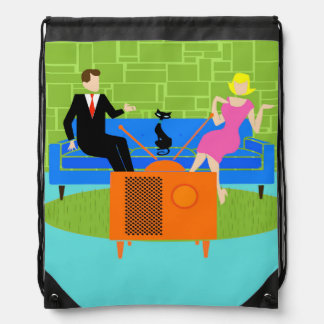 Retro Couple with Cat Drawstring Backpack