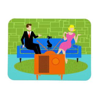 Retro Couple with Cat Flexible Magnet