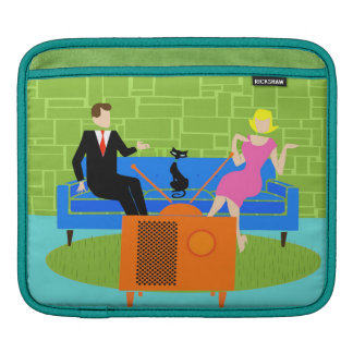 Retro Couple with Cat iPad Sleeve