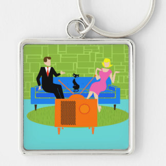 Retro Couple with Cat Keychain