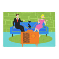 Retro Couple with Cat Laminated Placemat
