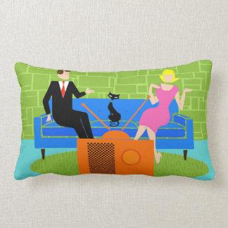Retro Couple with Cat Lumbar Pillow