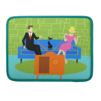 Retro Couple with Cat MacBook Pro Sleeve
