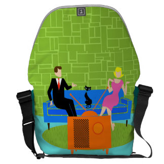 Retro Couple with Cat Messenger Bag