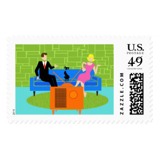 Retro Couple with Cat Postage Stamps