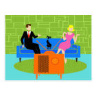 Retro Couple with Cat Postcard