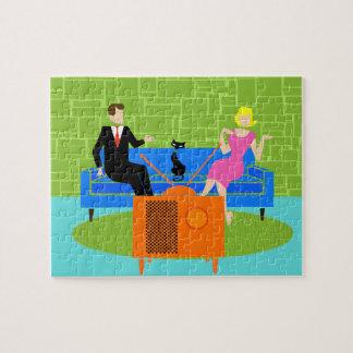 Retro Couple with Cat Puzzle