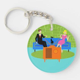 Retro Couple with Cat Round Acrylic Keychain