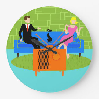 Retro Couple with Cat Round Acrylic Wall Clock