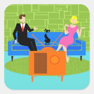 Retro Couple with Cat Stickers