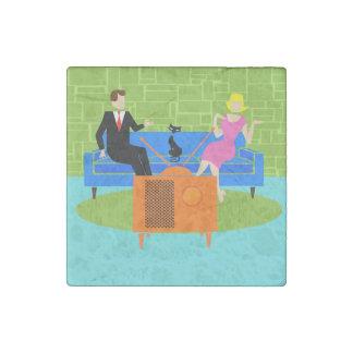 Retro Couple with Cat Stone Magnet