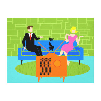 Retro Couple with Cat Stretched Canvas Print