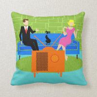 Retro Couple with Cat Throw Pillow